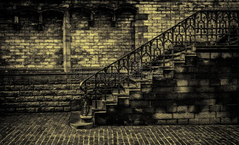 Old stone staircase. Detail of medieval steps, history stock photography