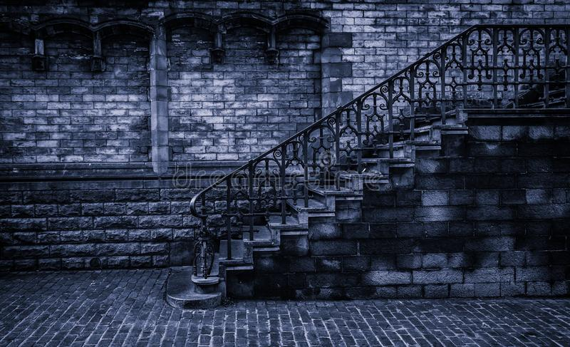 Old stone staircase. Detail of medieval steps, history stock photo
