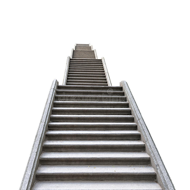 Free Old Stone Staircase Isolated On White Background Stock Photography - 58052712
