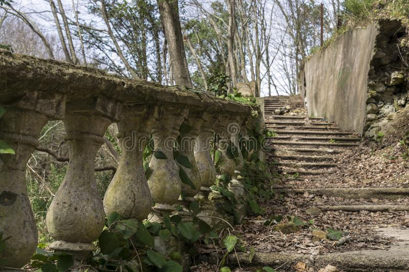 An old stone staircase. Leads to the top of the hill stock photo