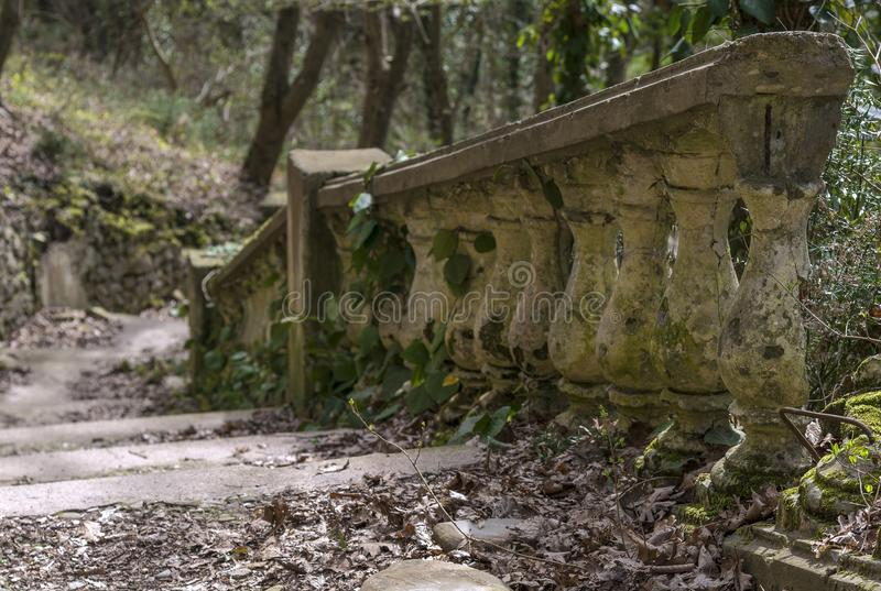 An old stone staircase. Leads to the top of the hill stock image