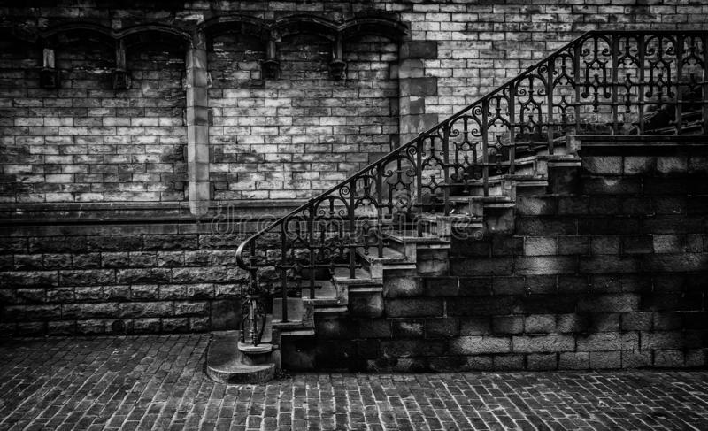 Old stone staircase. Detail of medieval steps, history royalty free stock photos