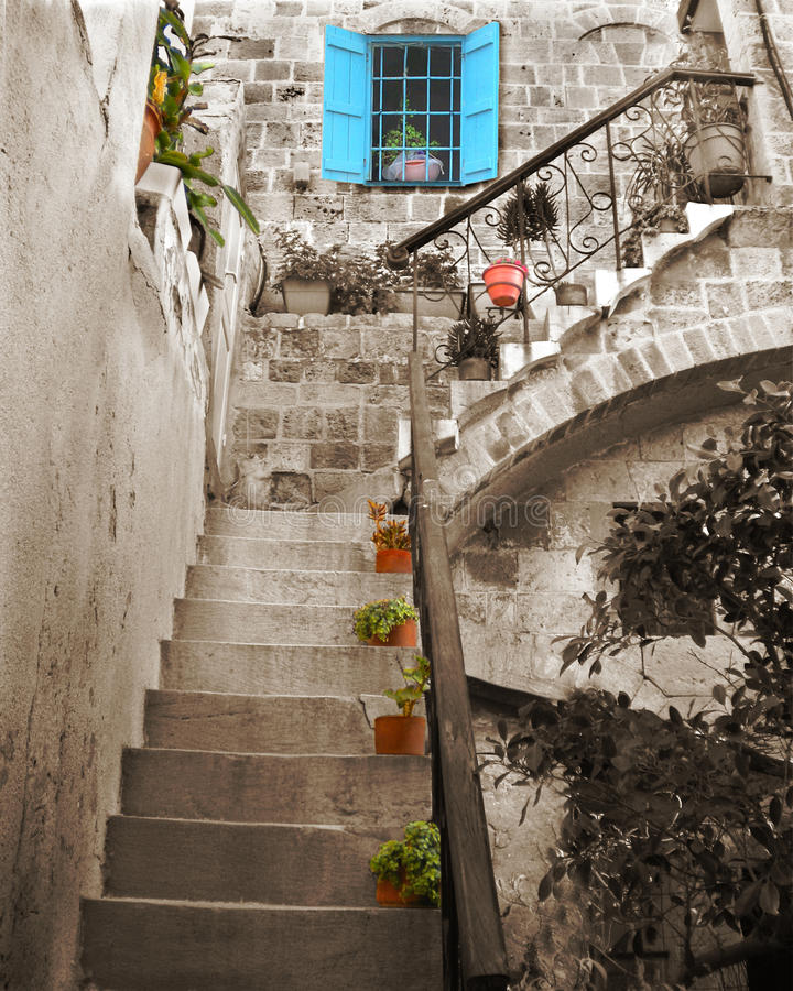 Download Old Stone Stairs And Blue Window Stock Photo - Image of jaffa, step: 22044390