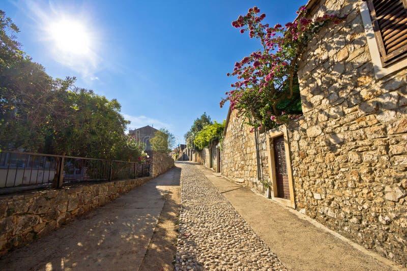 Old stone steets of Stari Grad. On island of Hvar, famous tourist destination royalty free stock image