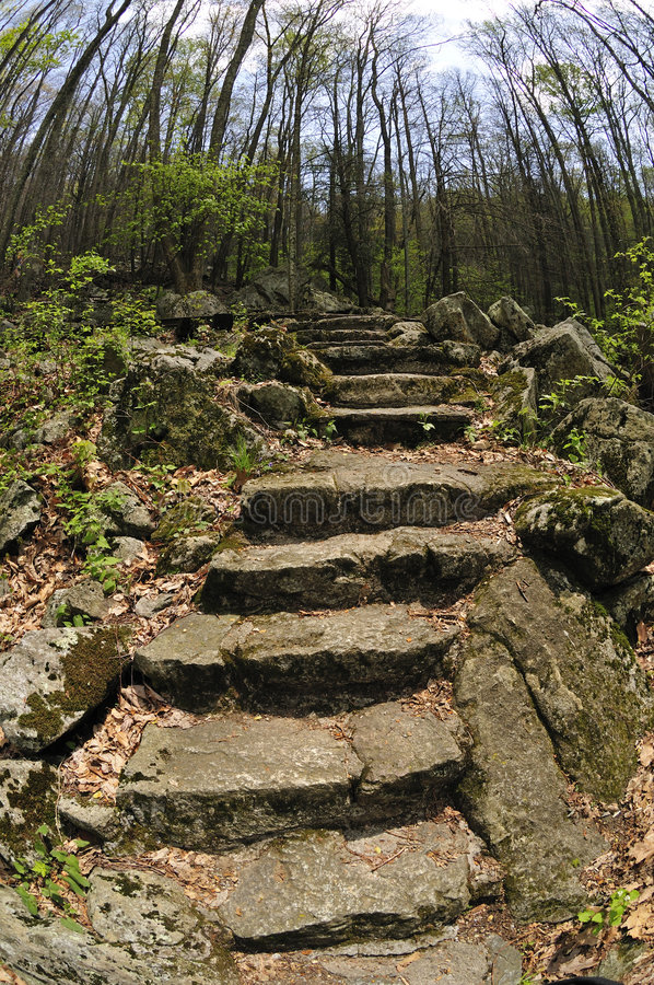 Old Stone Steps. In the Blue Ridge Mountains stock photography