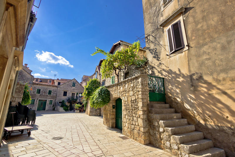 Old stone streets of Stari Grad. Hvar island in Croatia royalty free stock photo