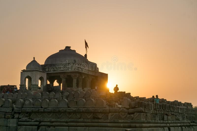 Old stone temple at Abhaneri shot at dusk stock image