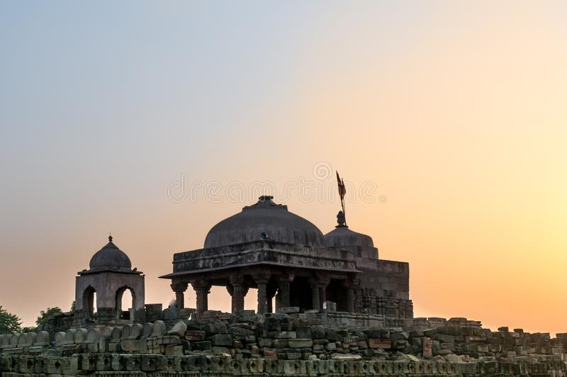 Old stone temple at Abhaneri shot at dusk stock photography