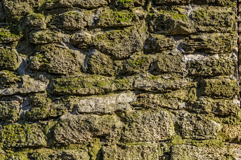 Old stone wall with moss and lichen royalty free stock images
