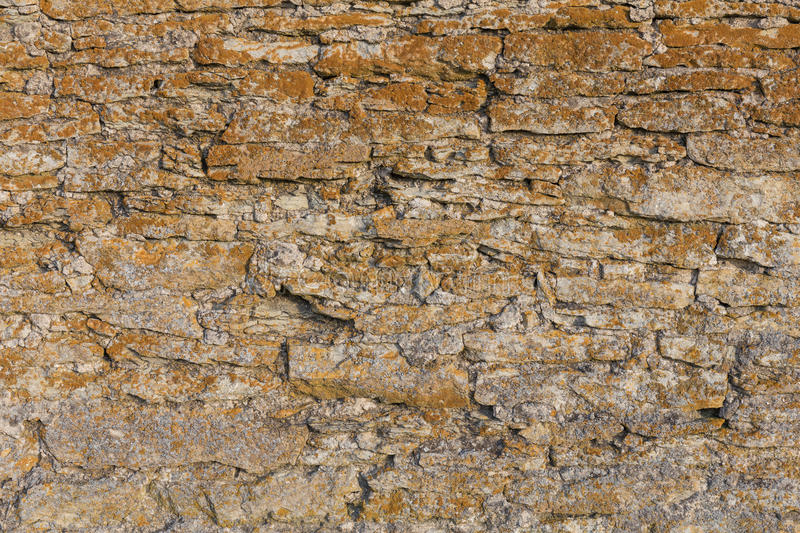 Old stone wall texture with moss. Background of old stone wall texture with moss royalty free stock images
