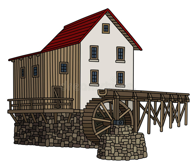 Old stone water mill vector illustration