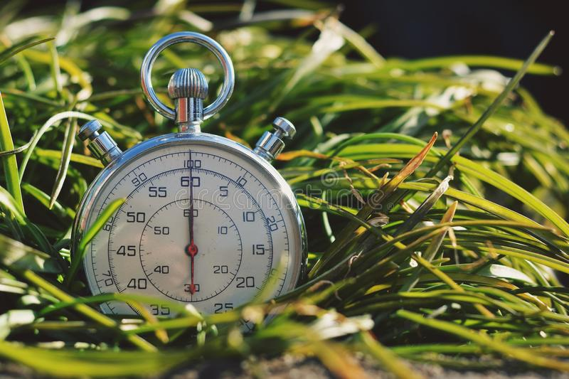 Old stopwatch in green grass stock photos