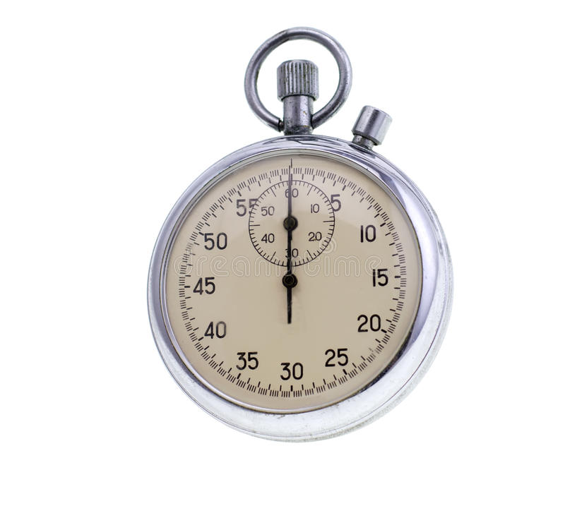Old stopwatch isolated stock images