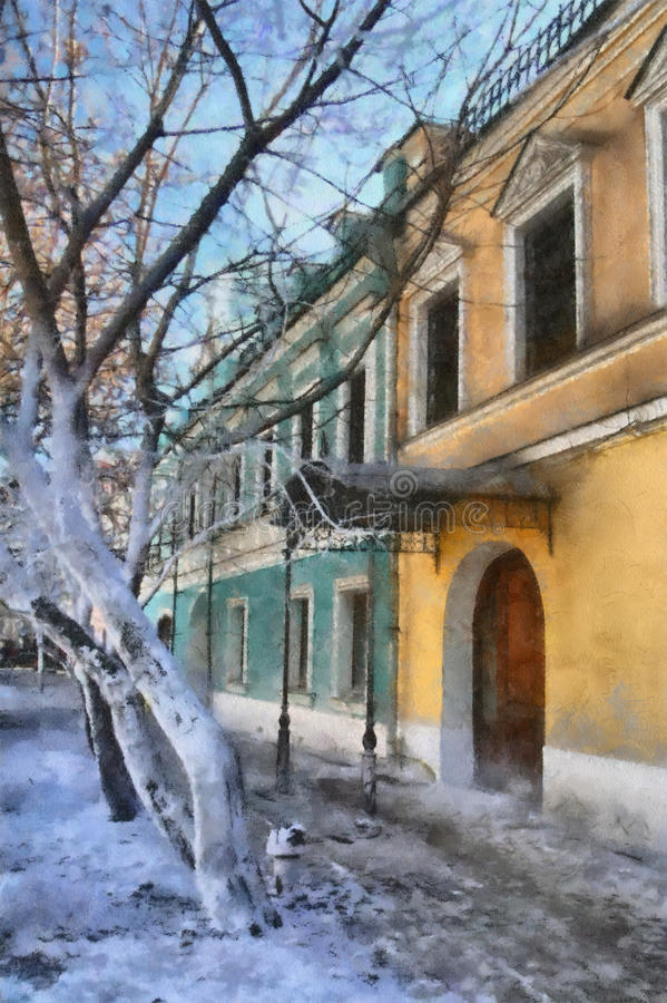 Old street. Small old street in Moscow in the autumn evening stock illustration
