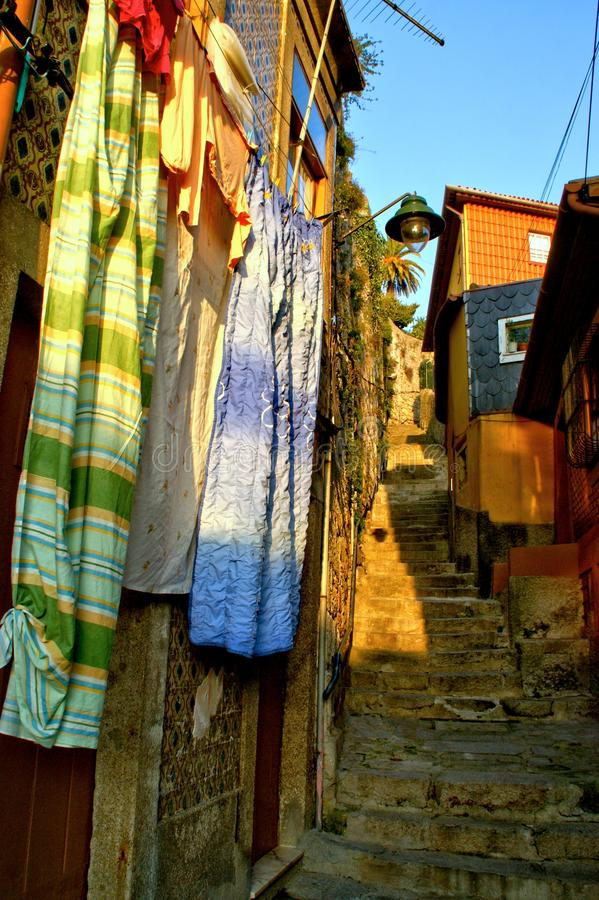 Old street of Barredo in Oporto stock photos