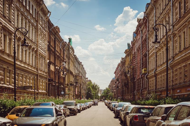 Old street with beautiful old houses in St. Petersburg stock image