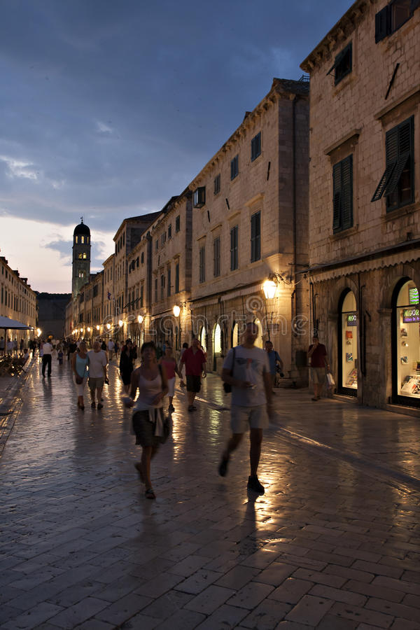 Old Street And Cafes At Night In Dubrovnik Editorial Stock Photo