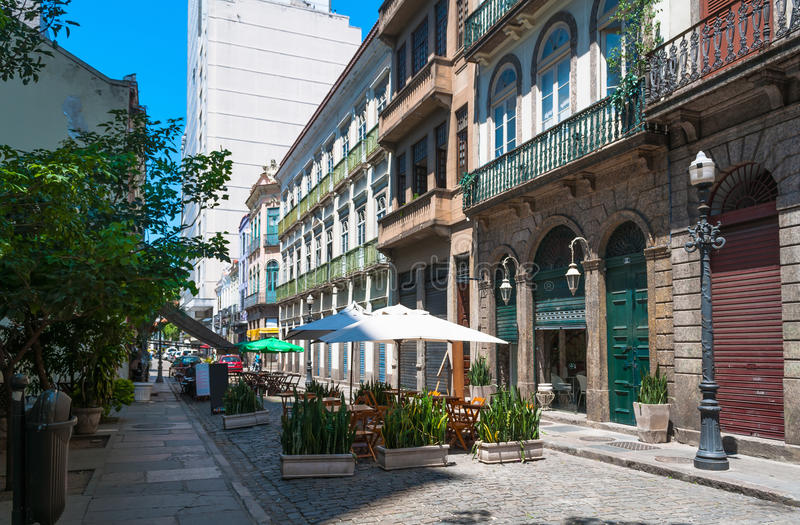 Old street of Centro in Rio de Janeiro. Brazil royalty free stock photos