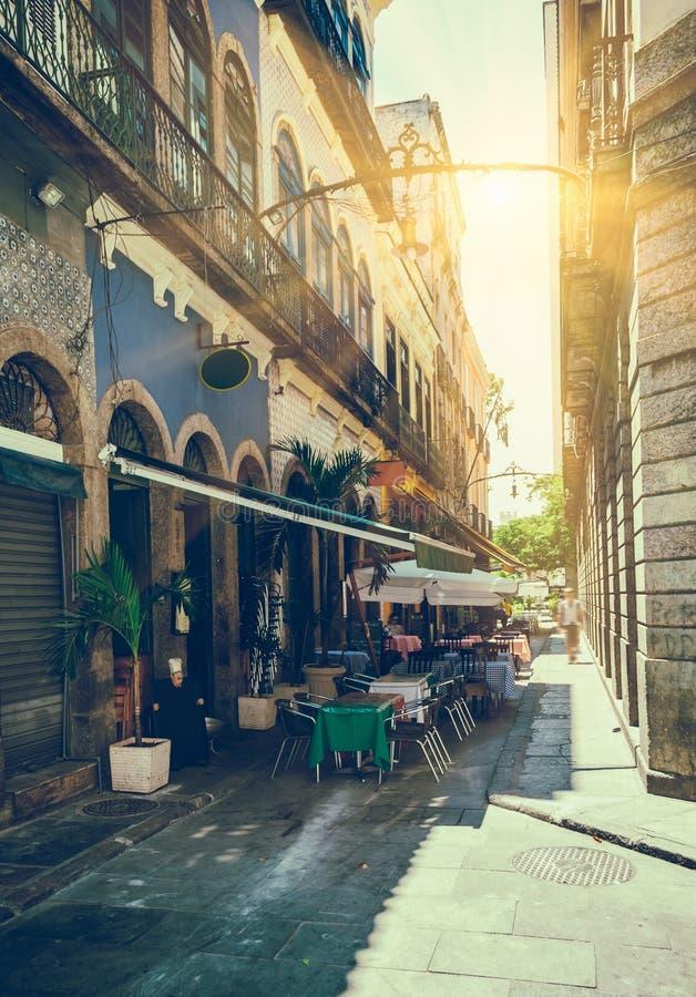 Old street of Centro in Rio de Janeiro. Brazil stock photography
