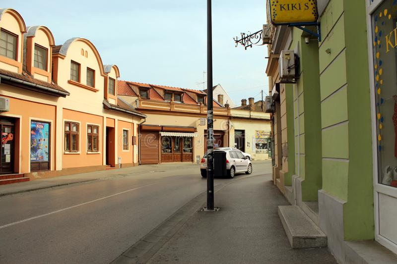 Old street in downtown Vršac stock images
