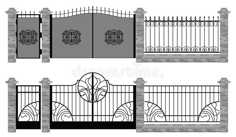 Old street fences and gates royalty free illustration