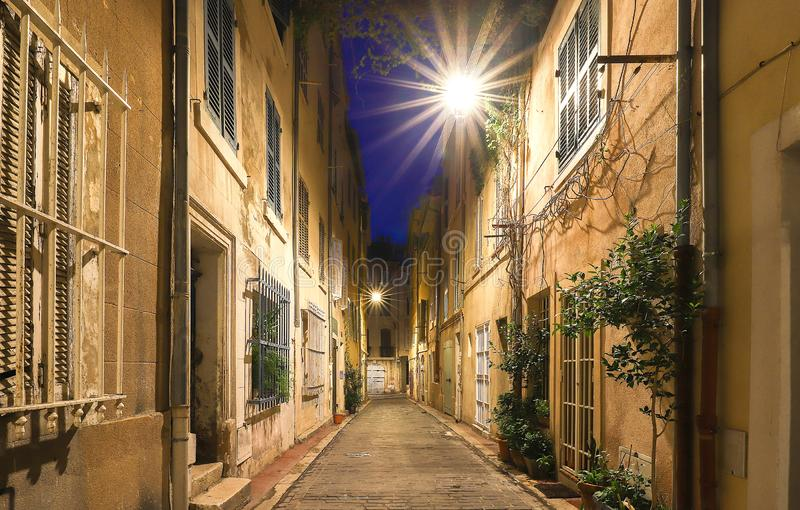 The old street in the historic quarter Panier of Marseille in South France at night. The old street in the historic quarter Panier of Marseille in South France stock images