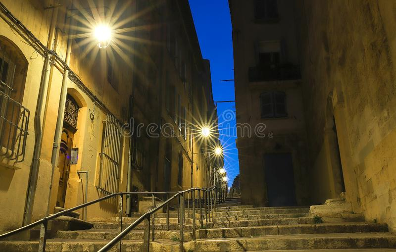 The old street in the historic quarter Panier of Marseille in South France at night. The old street in the historic quarter Panier of Marseille in South France royalty free stock photos