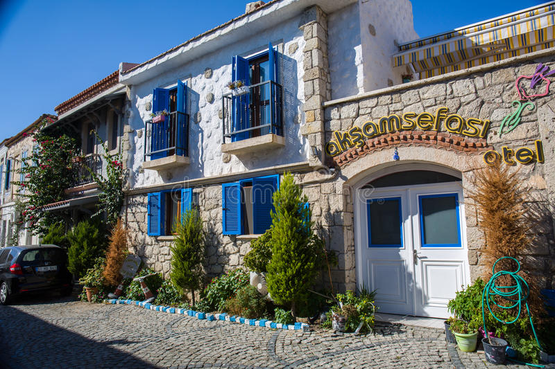 Old street and house in Alacati stock images