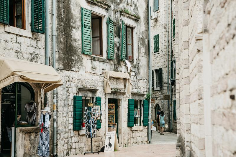 Old street with houses in Montenegro royalty free stock photos