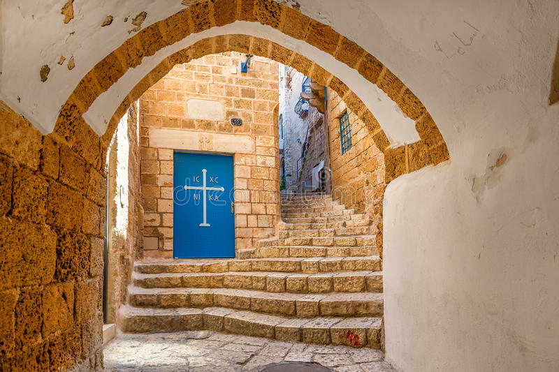 Old street of Jaffa, Israel. Vault passage, small church and stone stair in old city of Jaffa in Israel royalty free stock images
