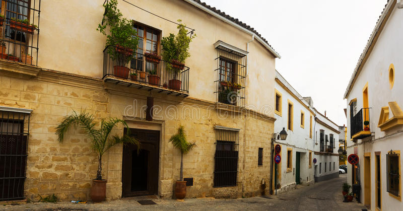 Old street in Jerez de la Frontera. Old street in european city. Jerez de la Frontera stock images