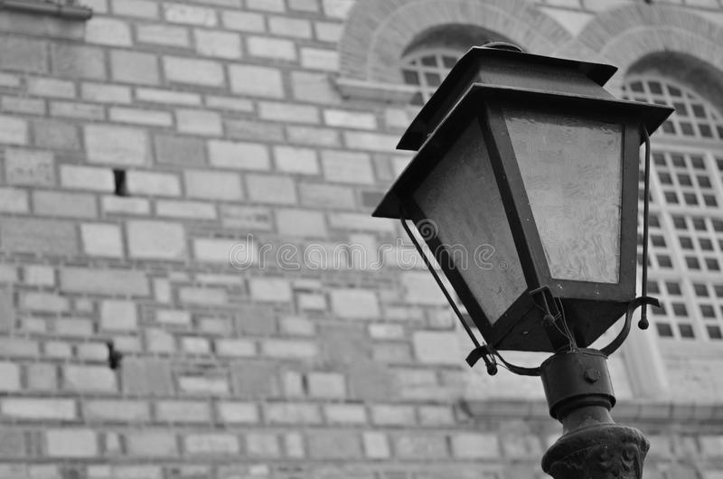 Old street lamp. Black and White stock photo