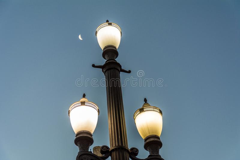 Old street lamp, symbol of the city of Sao Paulo, Brazil, with t royalty free stock image