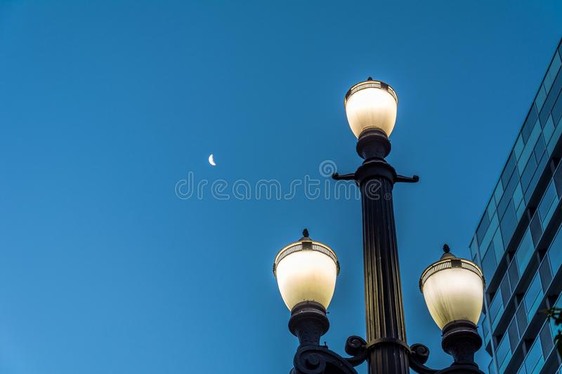 Old street lamp, symbol of the city of Sao Paulo, Brazil, with t stock images