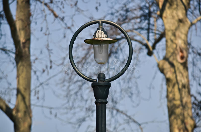 Old street lamp. Symmetrical composition with a street lamp in the middle and two trees royalty free stock image