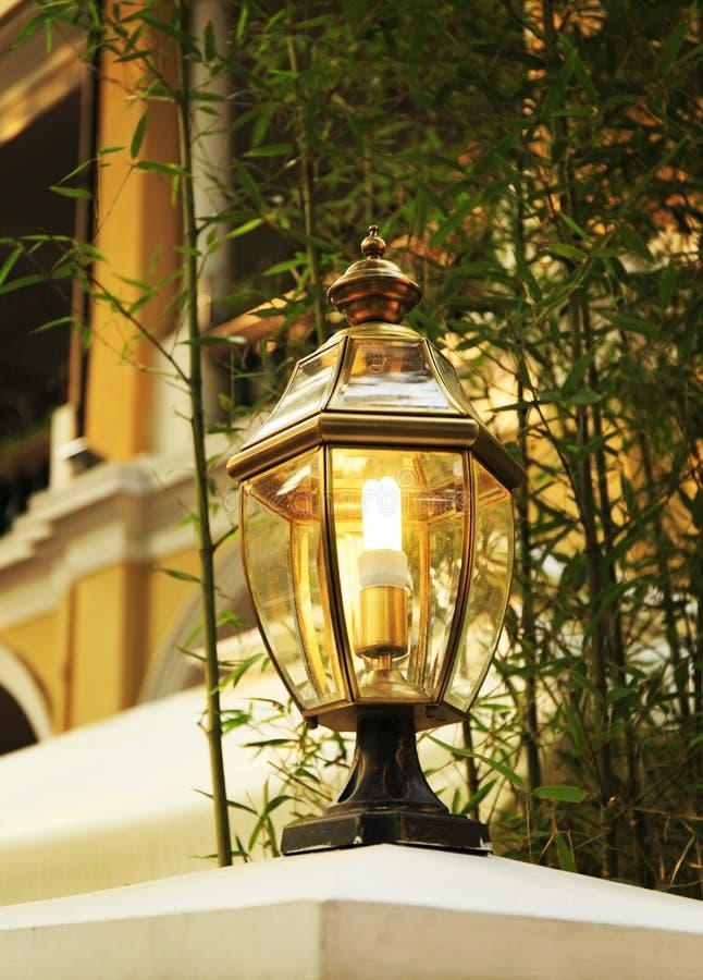 LED outdoor light vintage lamp landscape lighting. Classic garden lamp, vintage outdoor LED light for landscape lighting stock photos