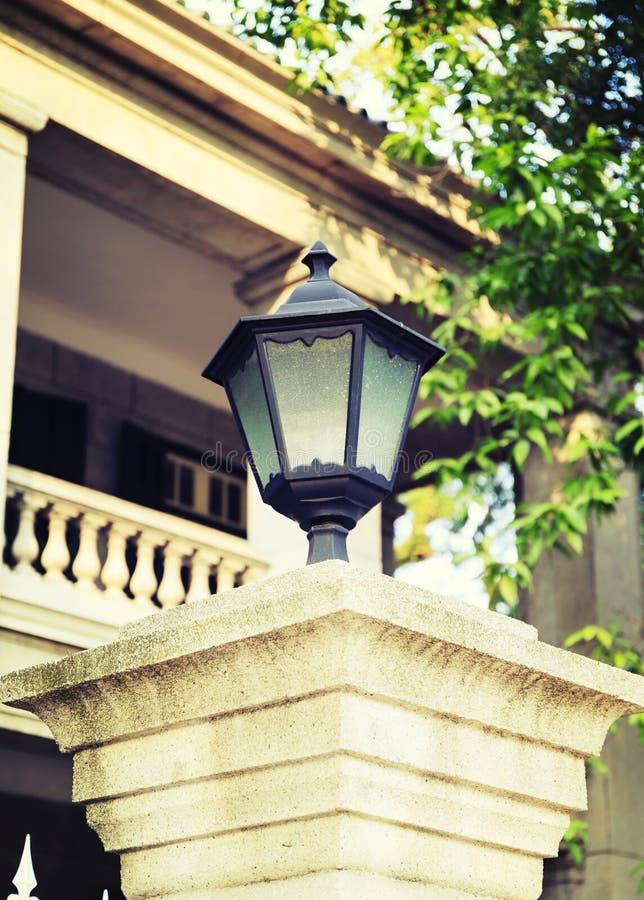 Outdoor light vintage lamp landscape lighting. Classic garden lamp, vintage retro outdoor light for landscape lighting stock images