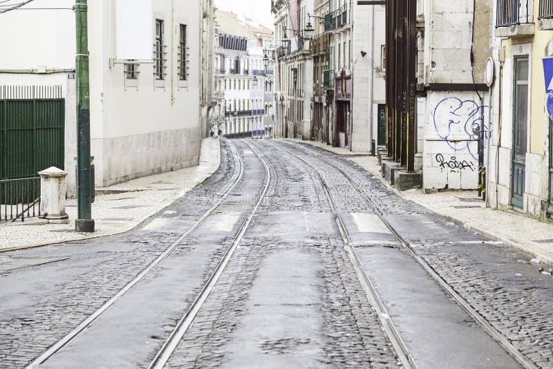 Old street of Lisbon stock photos