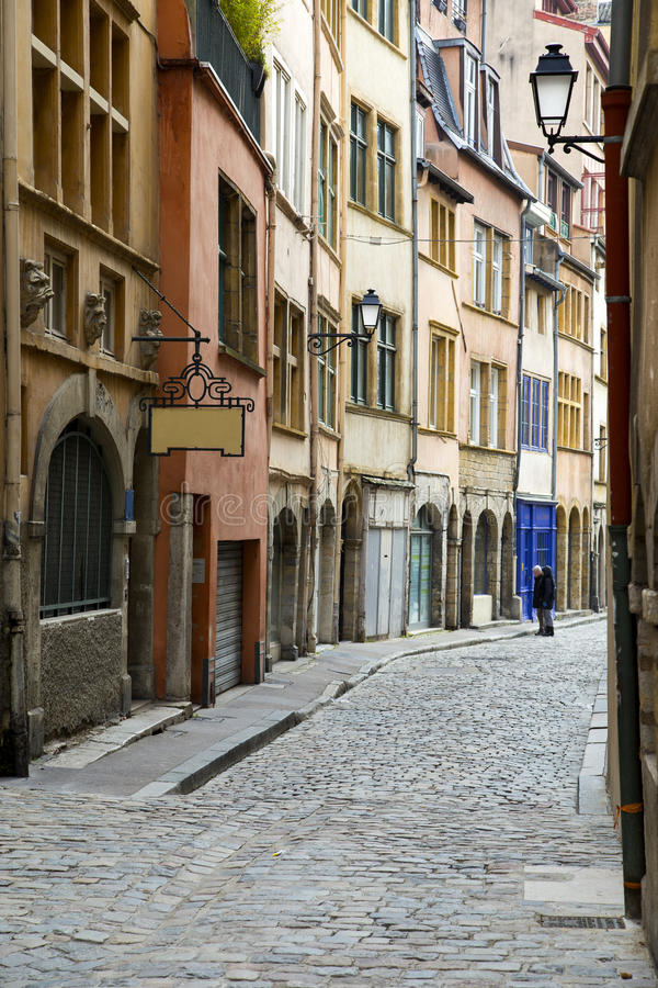 Old street of Lyon view, France stock image