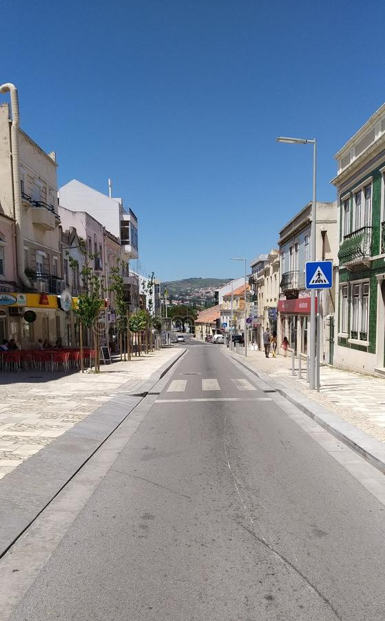 Main Street in Loures, Portugal. Old street in main road. Loures, Portugal. Concelho royalty free stock photos