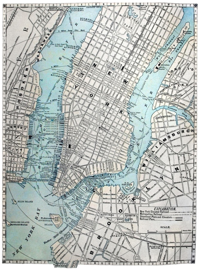 Free Old Street Map Of New York City Royalty Free Stock Photos - 11693918