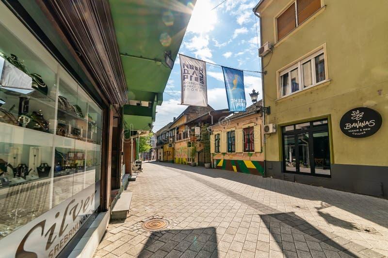 Old street of Novi Sad Serbia city center. stock photo