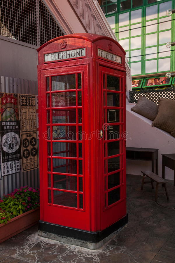 Old street of the old phone booth in Hong Kong. Hong Kong Ocean Park Avenue, the old old phone booth stock photo