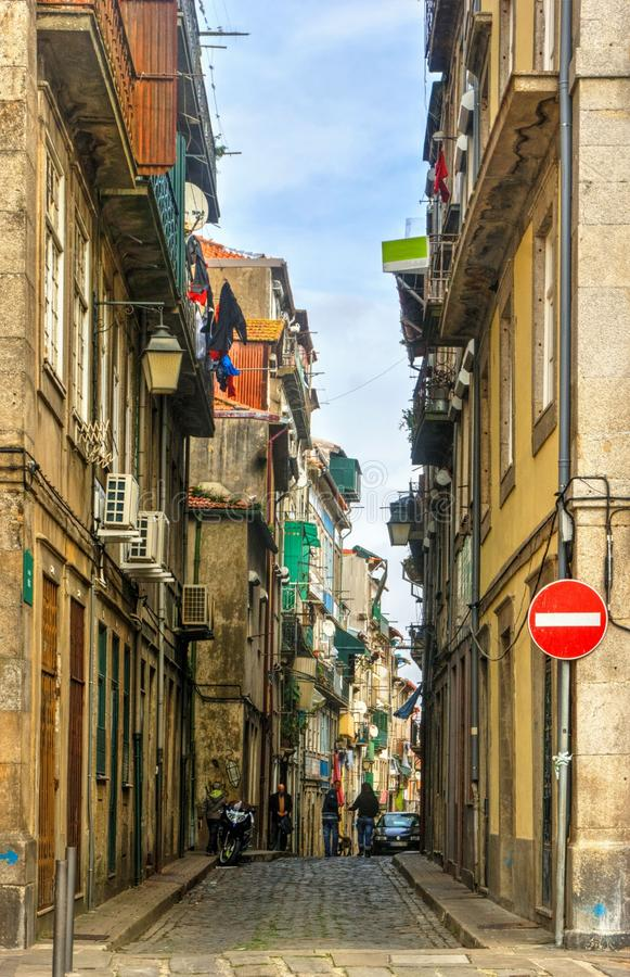 Old street in Oporto stock photography