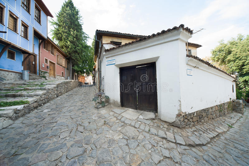 Old street in Plovdiv on Bulgaria royalty free stock photos