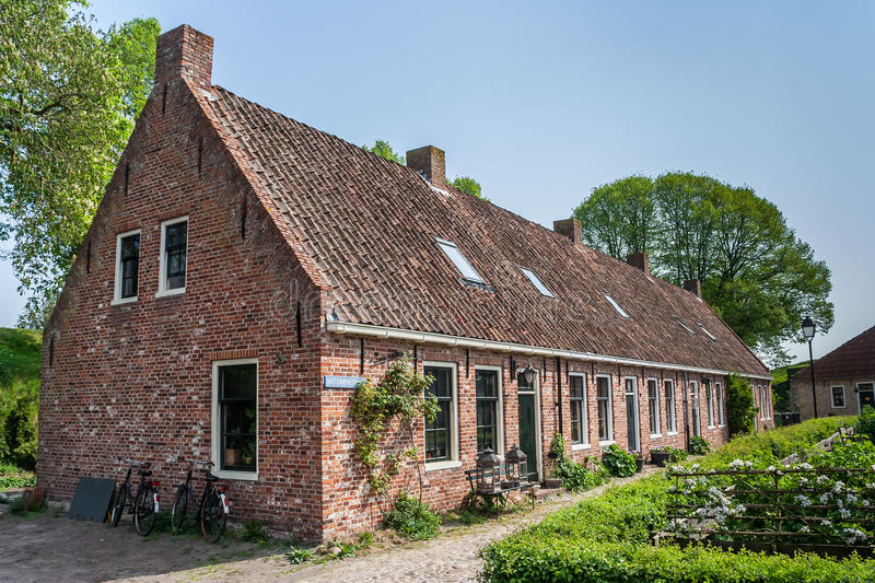 Old street in the restored village of Boertange in Groningen. The Netherlands royalty free stock photography