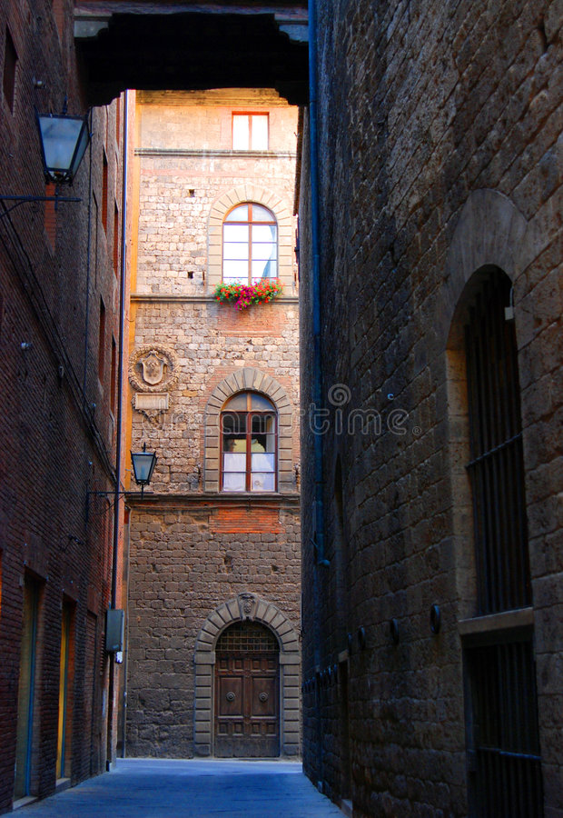 Old street in Siena. Tuscany royalty free stock photography