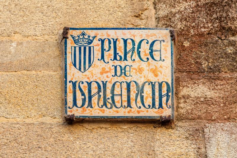 Old street sign, Vannes, France. Old street sign for place de Valencia in Vannes, Brittany, France royalty free stock image
