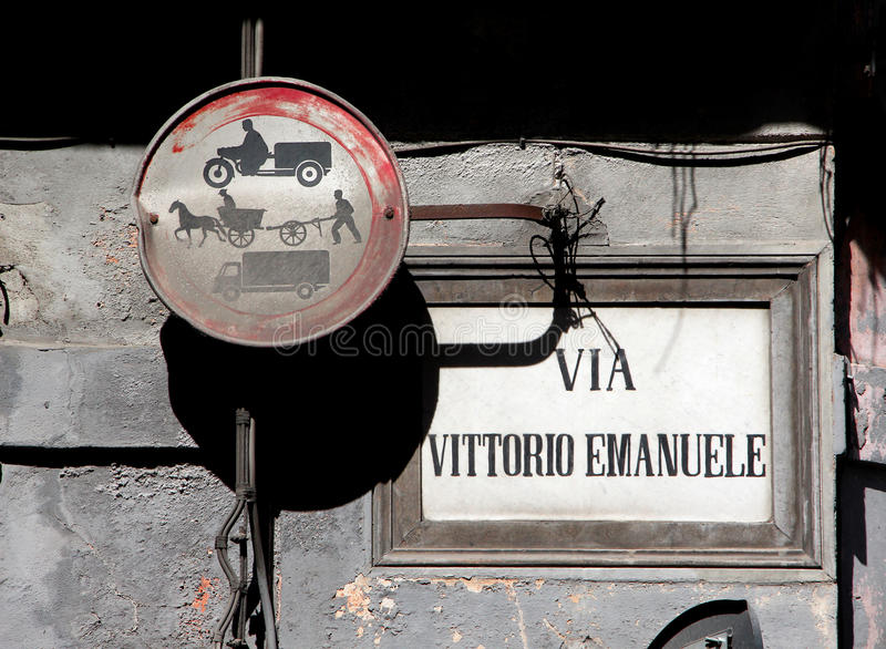 Old street signs in palermo, sicily. Detail of old street signs in palermo, landscape cut royalty free stock photo
