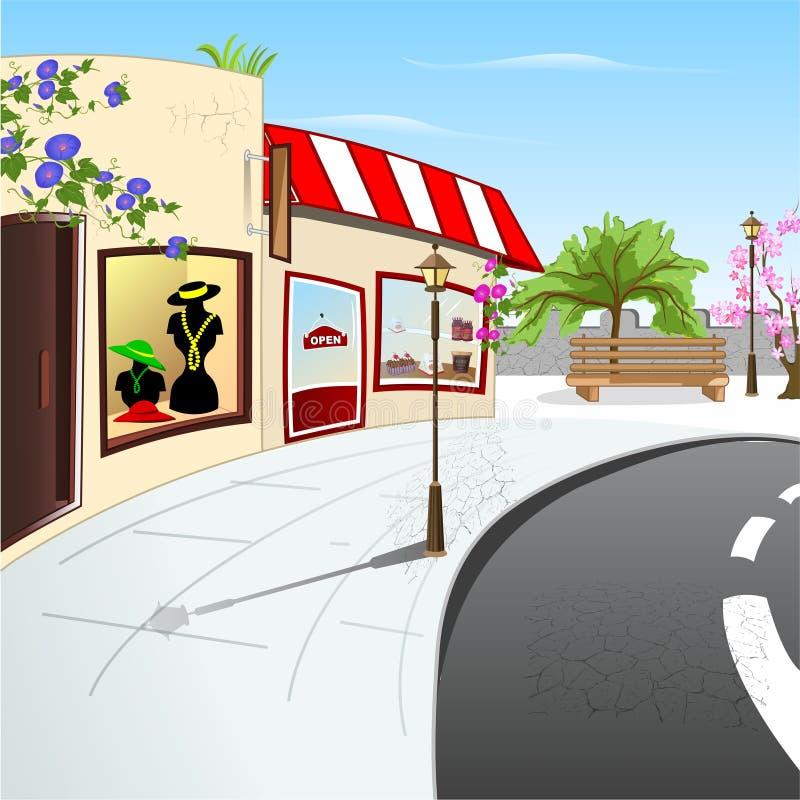 Download Old street stock illustration. Image of outdoor, shops - 39485440